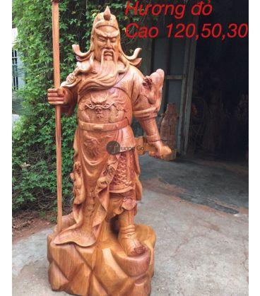 Quan Công Chống Đao Gỗ Hương Cao 120 Hương Đỏ
