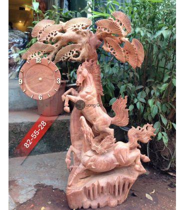 Tượng Ngựa Song Mã Uyên Ương Treo Đồng Hồ