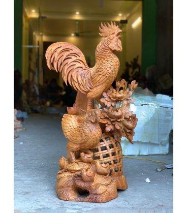 Tượng Gia Đình Gà - Hoa Phù Dung