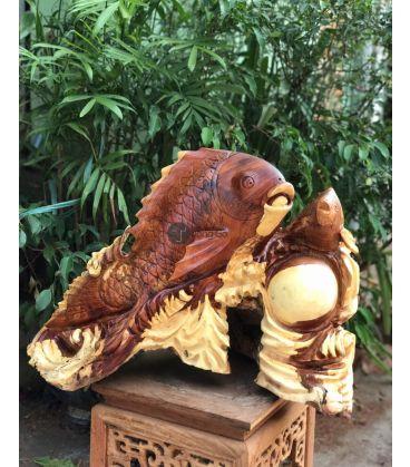Cá Chép Vờn Ngọc - Gỗ hương