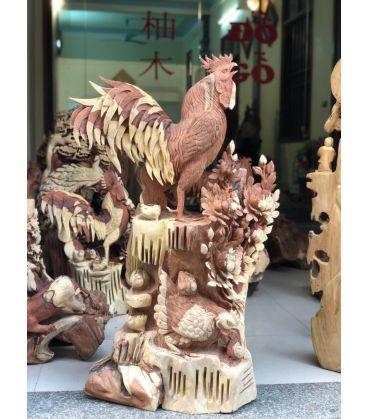 Tượng Gỗ Gia Đình Gà - Phù Dung Tài Lộc