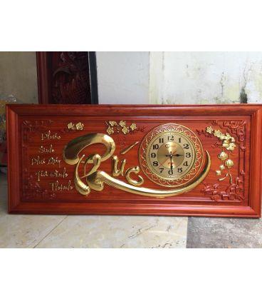 Tranh Đồng Hồ Gỗ Chữ Phúc Thư Pháp Dát Vàng