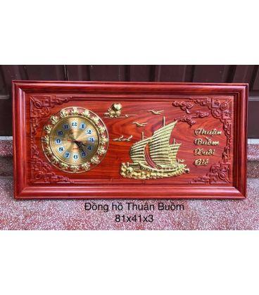 Tranh Gỗ Đồng Hồ Treo Tường Thuận Buồm Xuôi Gió