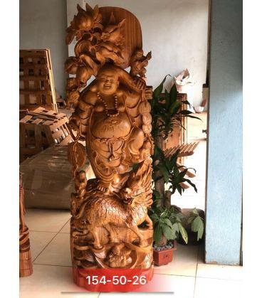 Tượng Phật Di Lặc Vác Cành Đào Gỗ Xá Xị