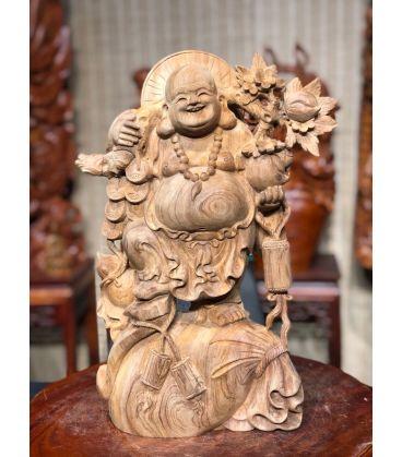 Phật Di Lặc Đứng Vác Cành Đào Gỗ Ngọc Am