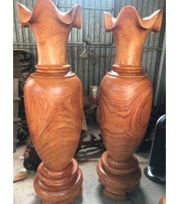 Cặp Lục Bình Gỗ Hương Đỏ Nam Phi Cao 160 cm