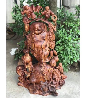 Tượng Phật Di Lặc Ngũ Tặc Gỗ Cẩm