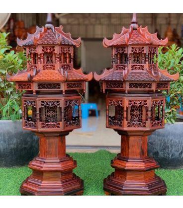 Đèn Thờ - Cặp Lồng Đèn 2 Tầng Gỗ Trắc Cao Cấp