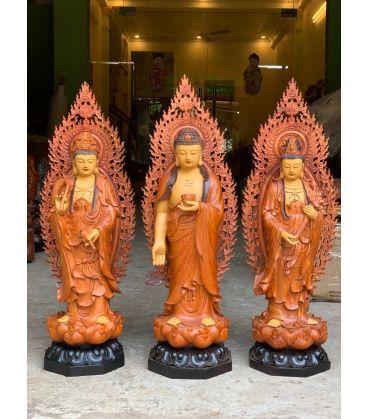 Tượng Phật Tây Phương Tam Thánh Đứng Đài Sen Cao 70
