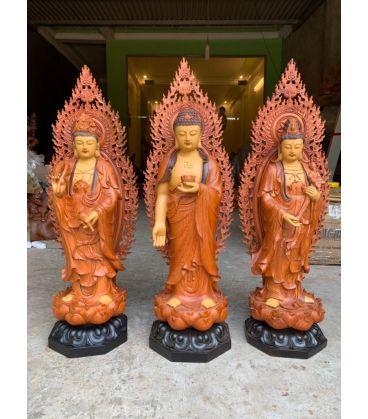 Tượng Phật Tây Phương Tam Thánh Sơn Giả Cổ Cao 60