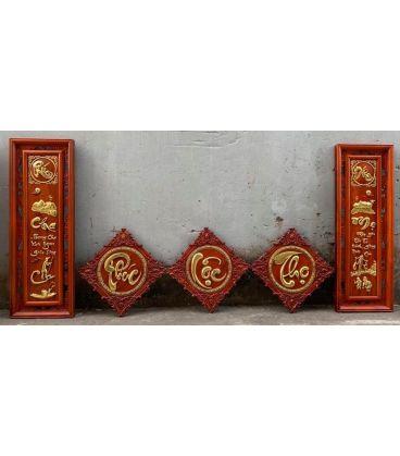 Bộ Tranh Trang Trí Phòng Khách Phúc Lộc Thọ