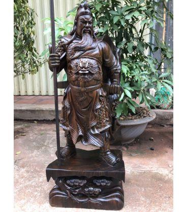Tượng Quan Vân Trường - Quan Công Đế Tùng Gỗ Mun Cao 80