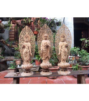Tượng Phật Tam Thánh Đứng Đài Sen Có Lá Đề