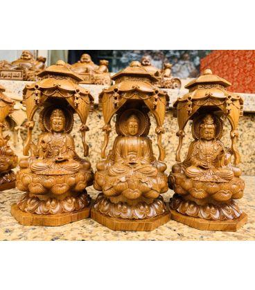 Tượng Phật Tam Thánh Ngồi Gỗ Bách Xanh