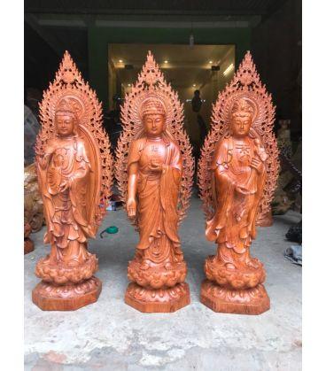 Tượng Phật Tây Phương Tam Thánh Gỗ Hương Cao 70 Có Lá Đề