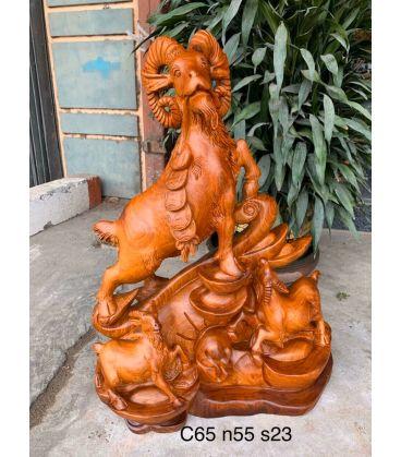 Tượng Tam Dương Khai Thái Gỗ Hương Cao 65