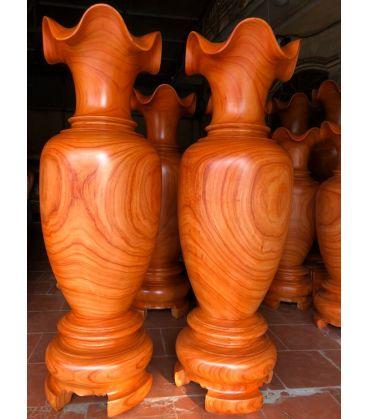 Cặp Lục Bình Gỗ Hương Đỏ Cao 180