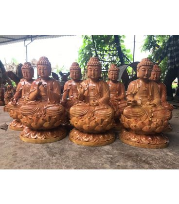 Tượng Thất Phật Dược Sư Gỗ Hương Cao 40cm