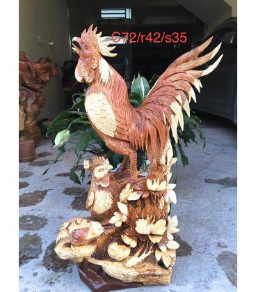 Tượng Con Gà - Hoa Phù Dung Cao 72