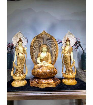Tượng Tây Phương Tam Thánh Phật Gỗ Long Não
