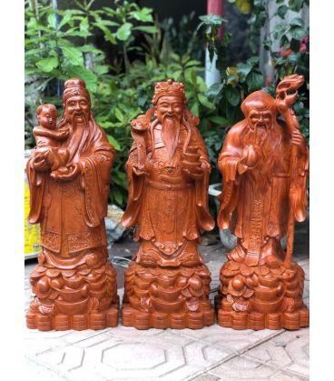 Tượng Gỗ Phúc Lộc Thọ Cao 60cm Gỗ Hương