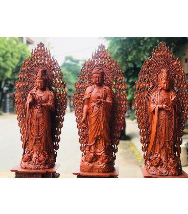 Bộ Tượng Tây Phương Tam Thế Phật Gỗ Hương
