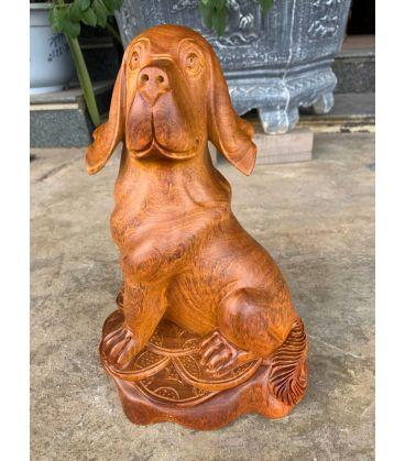 Tượng Gỗ Linh Vật  Phong Thủy Con Chó - Tuổi Tuất