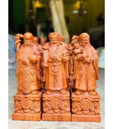 Tượng Tam Đa Phúc Lộc Thọ Đế Khắc Chữ - Gỗ Hương Đá Cao 40