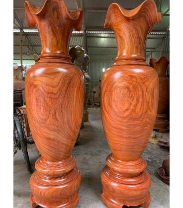 Cặp Lục Bình Gỗ Hương Đỏ Nam Phi Cao 170 cm