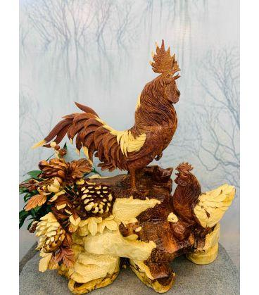 Tượng Con Gà - Gia đình gà gỗ hương ta cao 66