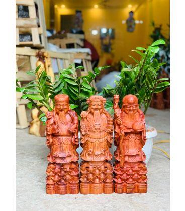 Tam Đa Phúc Lộc Thọ Gỗ Hương Đá Cao 40cm