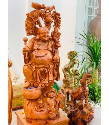 Tượng gỗ Di Lặc Ngũ Phúc Đứng mẫu đẹp -  vip - cao cấp