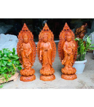 Tượng Phật Tây Phương Tam Thánh Gỗ Hương Cao 60 Có Lá Đề