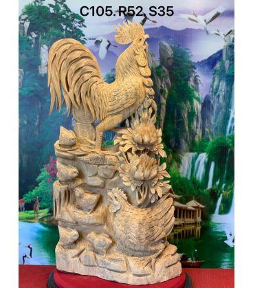 Tượng Con Gà - Hoa Phù Dung Cao 105