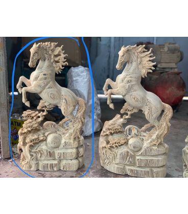 Tượng Ngựa - Nhất Mã Gỗ Mun Hoa