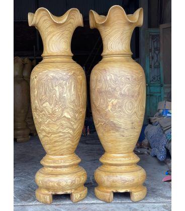 Cặp Lục Bình Gỗ Cao 2m2 Gỗ Cẩm Vàng