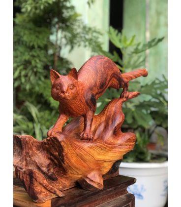 tượng gỗ con mèo