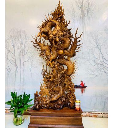 tượng gỗ song long chầu nguyệt