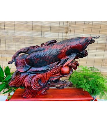 Tượng Cá Rồng Kim Long  Tài Lộc Phong Thủy - Gỗ Trắc
